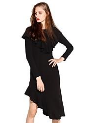 preiswerte -Damen Hülle Kleid-Party Festtage Solide Rundhalsausschnitt Asymmetrisch Langarm Kunstseide Acryl Alle Saisons Hohe Hüfthöhe