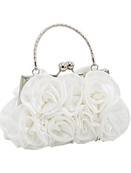 cheap -Women Bags Satin Evening Bag Flower(s) for Wedding Event/Party All Seasons Champagne White Black Red Silver