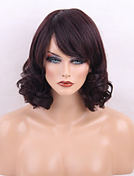 cheap -Women Human Hair Capless Wigs Dark Brown/Dark Auburn Black Medium Length Curly Natural Wave Side Part