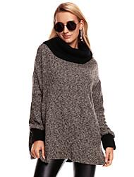 Manteau Femme,Couleur Pleine Sortie Travail simple Punk & Gothique Automne Hiver Manches longues Drapé Longue Acrylique Polyester