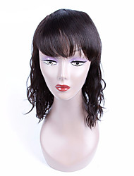 cheap -Women Human Hair Lace Wig Peruvian Remy Lace Front 130% Density With Bangs Natural Wave Wig Black Short Medium Length Virgin