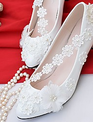 cheap -Women's Shoes Lace Leatherette Spring Fall Comfort Wedding Shoes Low Heel Pointed Toe Round Toe Applique Imitation Pearl For Wedding