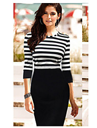 Women's Party Casual/Daily Sexy Simple Bodycon Dress,Striped Round Neck Knee-length Half Sleeves Cotton Others Summer Fall High Rise