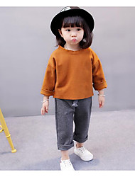 cheap -Girls' Solid Clothing Set,Cotton Winter Fall Long Sleeve Brown