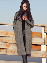 cheap -Women's Going out Regular Cardigan,Solid Round Neck Long Sleeves Others Winter Spring Medium Micro-elastic