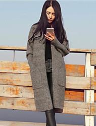 billige -Damer I-byen-tøj Normal Cardigan Ensfarvet,Rund hals Langærmet Andet Forår Vinter Medium Mikroelastisk