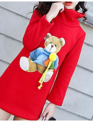 Girls' Print Blouse,Wool Cotton Winter Fall Long Sleeve Cartoon Black Red Lavender