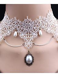 Mulheres Gargantilhas Imitação de Diamante Formato Oval Imitação de Pérola Renda Estilo bonito Clássico Jóias Para Casamento Festa