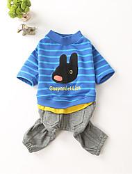 preiswerte -Hund Pullover Overall Hundekleidung Lässig/Alltäglich Cartoon Design Blau Kostüm Für Haustiere