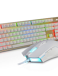AJAZZ Wired RGB Backlit illuminated Multimedia Ergonomic Usb GamingBlue  Switches Mechanics  Keyboard  3200DPI 8 Buttons Optical Gaming Mouse