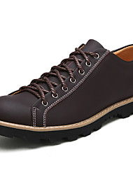 cheap -Men's Shoes Nappa Leather Winter Fall Comfort Oxfords Lace-up for Casual Outdoor Black Coffee Brown