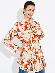 cheap -Women's Holiday Vintage Shirt,Floral Stand Long Sleeves Linen