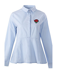 cheap -Women's Daily Work Vintage Street chic Spring Fall Shirt,Embroidery Shirt Collar Long Sleeves Polyester Medium