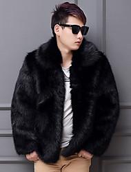 Недорогие -Муж. Пальто с мехом Рубашечный воротник Однотонный, Искусственный мех / Длинный рукав