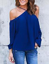cheap -Women's Blouse - Solid Colored Off Shoulder