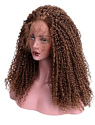 cheap -Synthetic Lace Front Wig Kinky Curly With Baby Hair Synthetic Hair Brown Wig Women's Long Lace Front