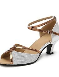cheap -Women's Latin Shoes Sparkling Glitter Heel Sparkling Glitter / Buckle Cuban Heel Dance Shoes Gold / Black / Silver / Professional