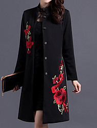 cheap -Women's Daily Vintage Fall Trench Coat,Solid Floral Print Round Neck Long Sleeve Long Cotton Polyester
