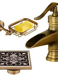 Installazione centrale Cascata with  Valvola in ceramica Una manopola Un foro for  Rame anticato , Lavandino rubinetto del bagno