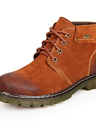 Men's Shoes Suede Winter Combat Boots Boots Lace-up For Casual Dark Brown Yellow Dark Blue