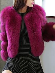 Cappotto di pelliccia Da donna Per uscire Semplice Autunno Inverno,Tinta unita A V Poliestere Corto Maniche a ¾ Colletto di pelliccia