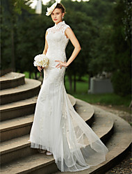 cheap -Mermaid / Trumpet High Neck Sweep / Brush Train Satin / Tulle / All Over Lace Made-To-Measure Wedding Dresses with Appliques / Buttons by