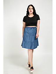cheap -Cute Ann Women's Plus Size A Line Skirts - Solid Colored