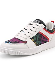 Men's Shoes Leatherette Fall Winter Comfort Sneakers Lace-up For Casual Work & Safety Black White