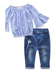 cheap -Girls' Striped Clothing Set, Rayon Spring Fall 3/4 Length Sleeves Stripes Blue