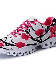 baratos -Mulheres Sapatos Borracha Primavera / Outono Conforto Tênis Sem Salto Ponta Redonda Cadarço para Ao ar livre Branco / Preto / Preto /