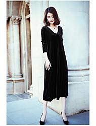 Courte Robe Femme Soirée Décontracté / Quotidien Couleur Pleine Coeur Midi Manches Longues Polyester Printemps Automne Taille haute