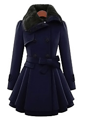 cheap -Women's Parka Coat,A-Line Slip Casual/Daily Solid-Polyester Wool Long Sleeves