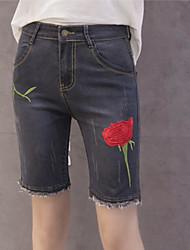 baratos -Mulheres Casual Delgado Shorts Jeans Calças - Bordado