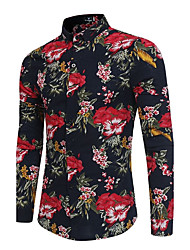cheap -Men's Party Club Vintage Chinoiserie Shirt - Floral, Floral Standing Collar