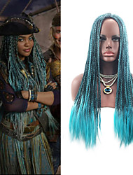 cheap -Women Synthetic Wig Capless Long Straight Blue Braided Wig Ombre Hair Middle Part Party Wig Celebrity Wig Halloween Wig Cosplay Wig