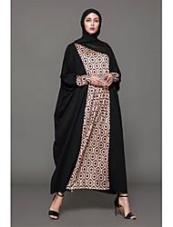 baratos -Mulheres Feriado Algodão Abaya Vestido - Estampado Longo / Inverno