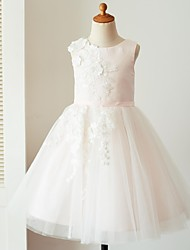 cheap -Ball Gown Knee Length Flower Girl Dress - Satin Tulle Sleeveless Jewel Neck with Appliques Sash / Ribbon by LAN TING BRIDE®