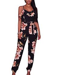 abordables -Femme Soirée Vacances Mignon Combinaison-pantalon - Fleur, Fleur A Bretelles