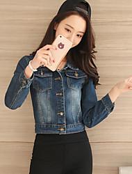 economico -Giacca di jeans Da donna Per uscire Moda città Autunno,Tinta unita Colletto Altro Standard Maniche lunghe