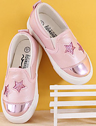 Girls' Shoes PU Fall Winter Comfort Loafers & Slip-Ons For Casual Blushing Pink Silver