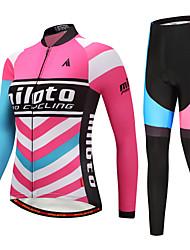 economico -Miloto Per donna Manica lunga Maglia con pantaloni da ciclismo - Nero / Rosso Bicicletta Set di vestiti Strisce / Elasticizzato