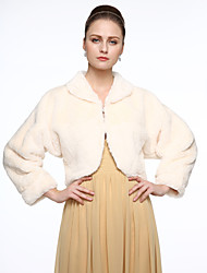 Long Sleeves Faux Fur Wedding Party / Evening Women's Wrap With Buckle Coats / Jackets