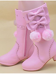 Girls' Shoes Synthetic Microfiber PU Fall Winter Snow Boots Boots For Casual Blushing Pink Red