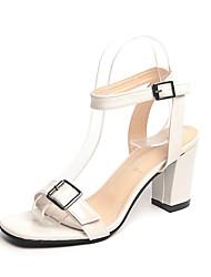 Women's Shoes PU Summer Comfort Sandals Walking Shoes Block Heel Open Toe Buckle For Outdoor Black Beige Light gray