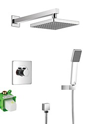 cheap -Contemporary Shower System Rain Shower Handshower Included Ceramic Valve One Hole Chrome, Shower Faucet