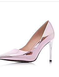 Women's Shoes Cowhide Spring Fall Basic Pump Heels For Casual Light Pink Silver