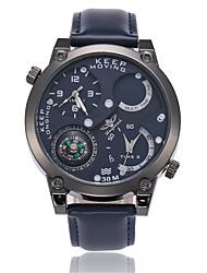 Муж. Наручные часы Китайский Кварцевый Compass Защита от влаги С двумя часовыми поясами Кожа Группа Cool Черный