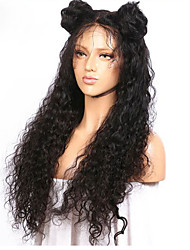 Women Human Hair Lace Wig Brazilian Human Hair Full Lace 130% Density Layered Haircut With Baby Hair Deep Wave Wig Black Medium Brown