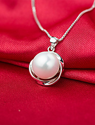 Women's Pendant Necklaces Pearl Round Pearl Sterling Silver Imitation Pearl Pink Pearl Gold Pearl Natural Friendship Jewelry For Birthday