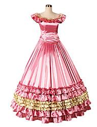 abordables -Rétro Victorien Gothique Epoque Médiévale Costume Femme Robes Costume de Soirée Bal Masqué Fuschia Vintage Cosplay Autre Sans Manches
